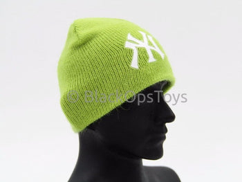 Knit Lime Green Female Beanie Watch Cap With Yankees Logo (C)