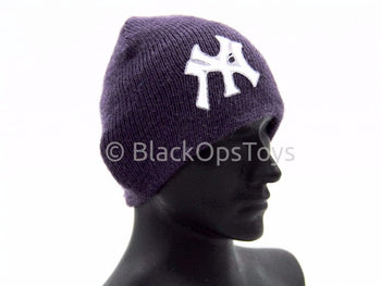 Knit Purple Female Beanie Watch Cap With Yankees Logo (F)
