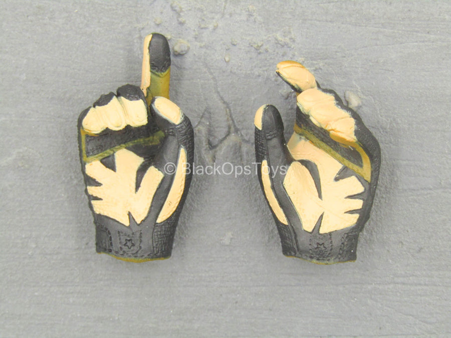 Combat Gloves & Boots Set - Black & Orange Gloved Hand Set (x2)
