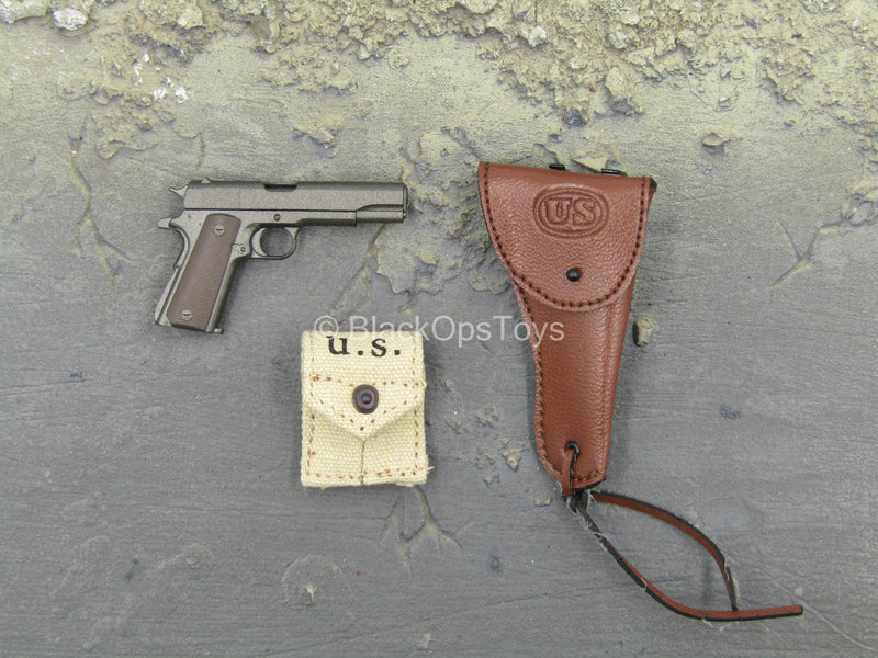 WWII - US Platoon Leader - 1911 Pistol w/Leather Like Holster