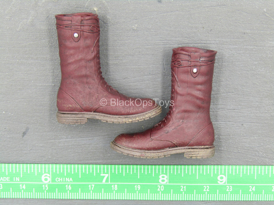 Lady Samurai - Red Molded Boots (Peg Type)
