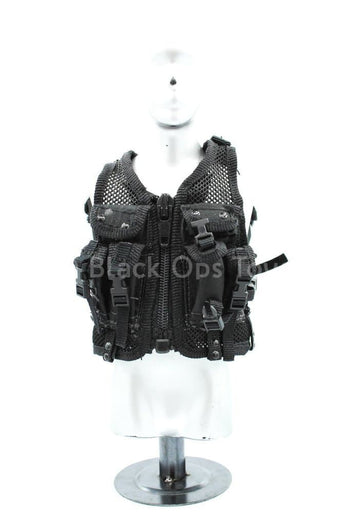 Black Tactical Equipment Vest w/Backpack - MINT IN BOX