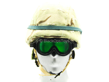 Heavy Machine Gun Team - 3C Desert Helmet w/Green Goggles