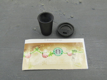 "1/6 Scale Black Ceramic Coffee Cup w/""Lovebucks"" Label"