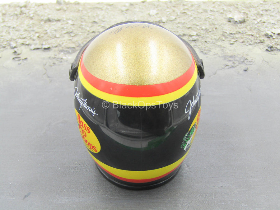 1/4 - Black Racing Helmet w/Red & Yellow Stripe