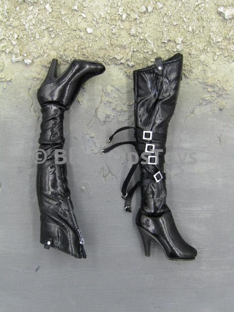 Bloody Rose Fantasy 1/6 Scale Female Black Glossy Knee-High High Heel Boots Peg Type