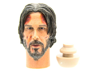 John Wick - Bloody Male Head Sculpt In Keanu Reeves Likeness