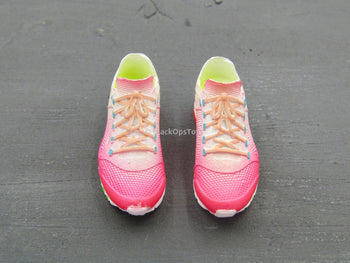 Pink & White Female Exercise Sneakers (Peg Type)