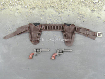 Brown Leather Like Belt w/Revolver & Holster (x2)