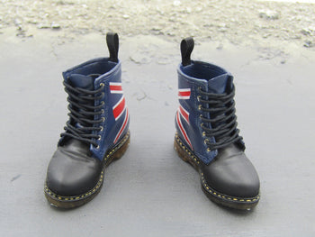 1/6 Scale Black Doc Martin Boots w/Union Jack Detail Foot Type