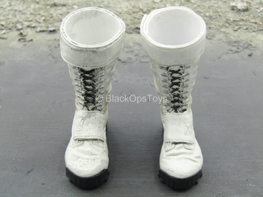 The Punisher - White Combat Boots (Peg Type)