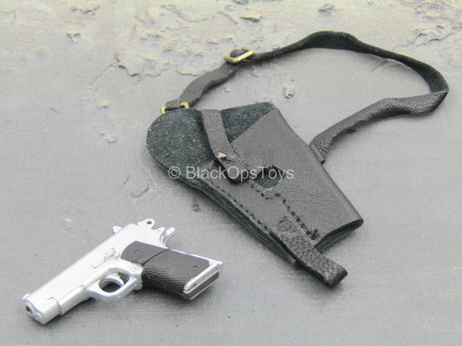 Silver Pistol w/Black Leather Like Holster
