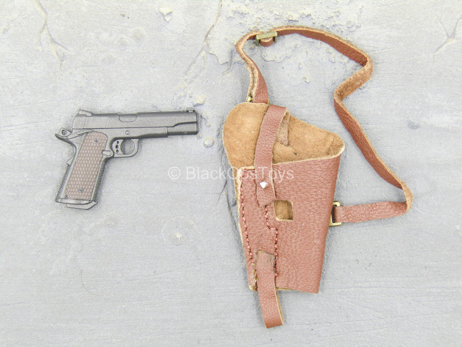 1911 Pistol w/Brown Leather Like Holster