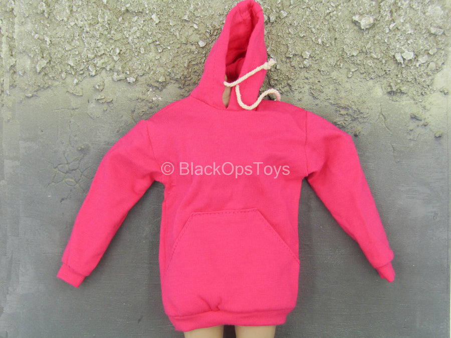 Female Clothing - Large Size Pink Hoodie
