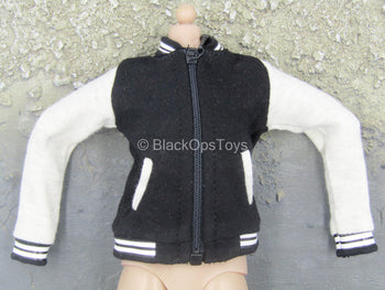 Female Clothing - Black & Off-White Letterman Jacket