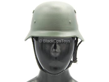 WWII German - Georg Sander - Green Metal Helmet