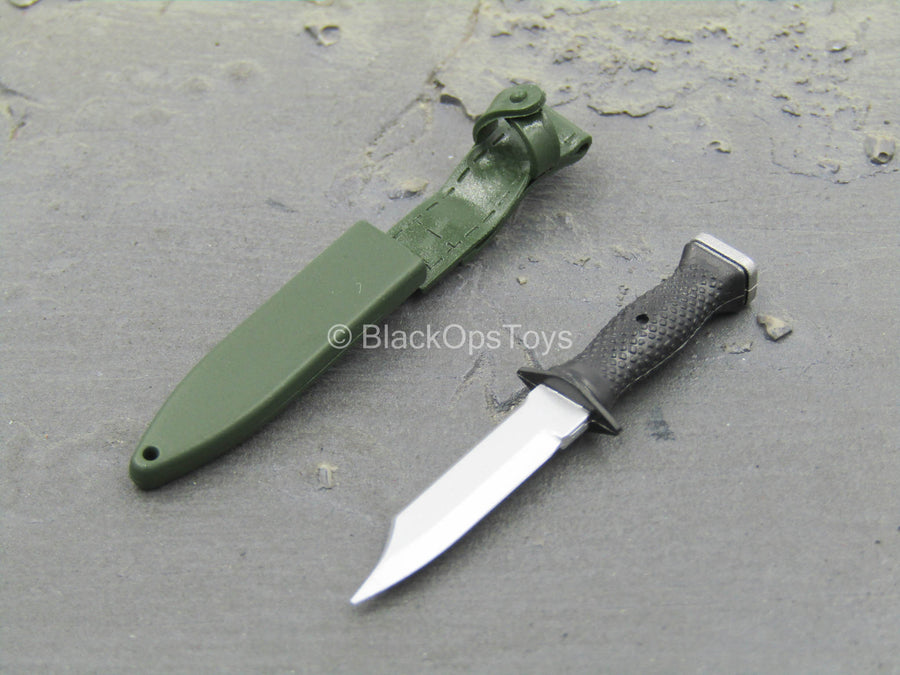 DEVGRU Night Ops - Combat Knife w/OD Green Sheath