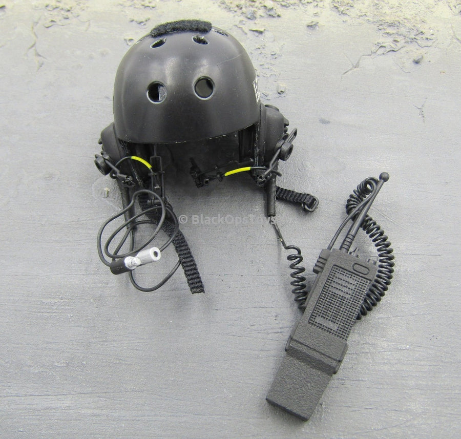 Black MICH Helmet w/Radio and Comms Headgear Set