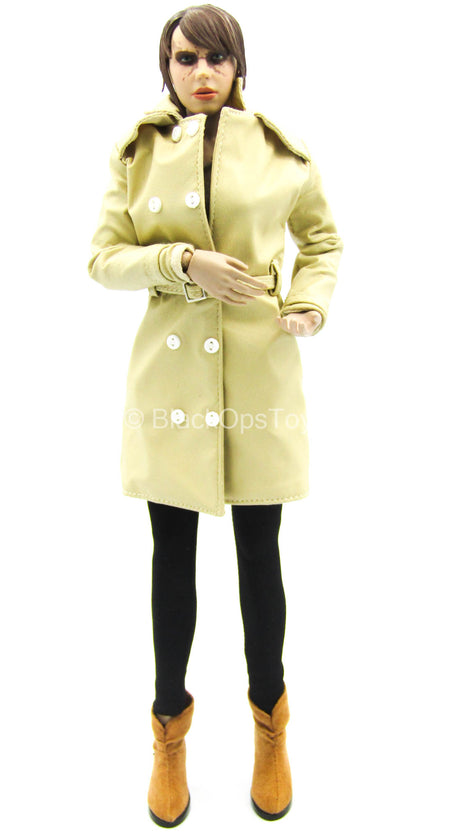 Lady's Mission - Tan Leather-Like Jacket w/Leggings & Boots Set