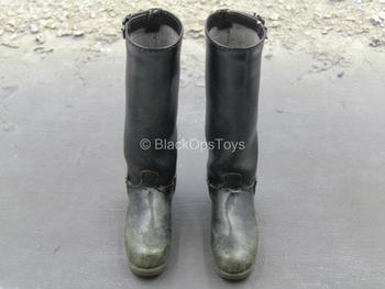 Star Wars - Han Solo - Weathered Black Leather Like Boots (Peg Type)