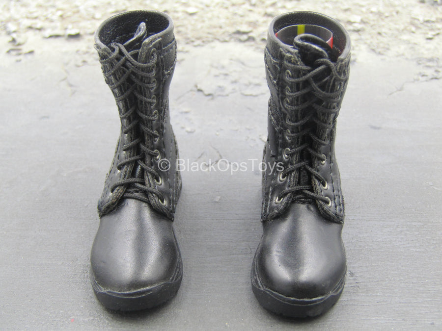 Black Leather Like Combat Boots (Foot Type)