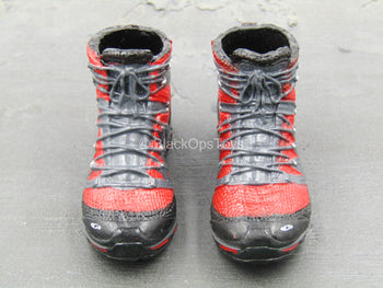 The Last - Black & Red Combat Boots (Peg Type)
