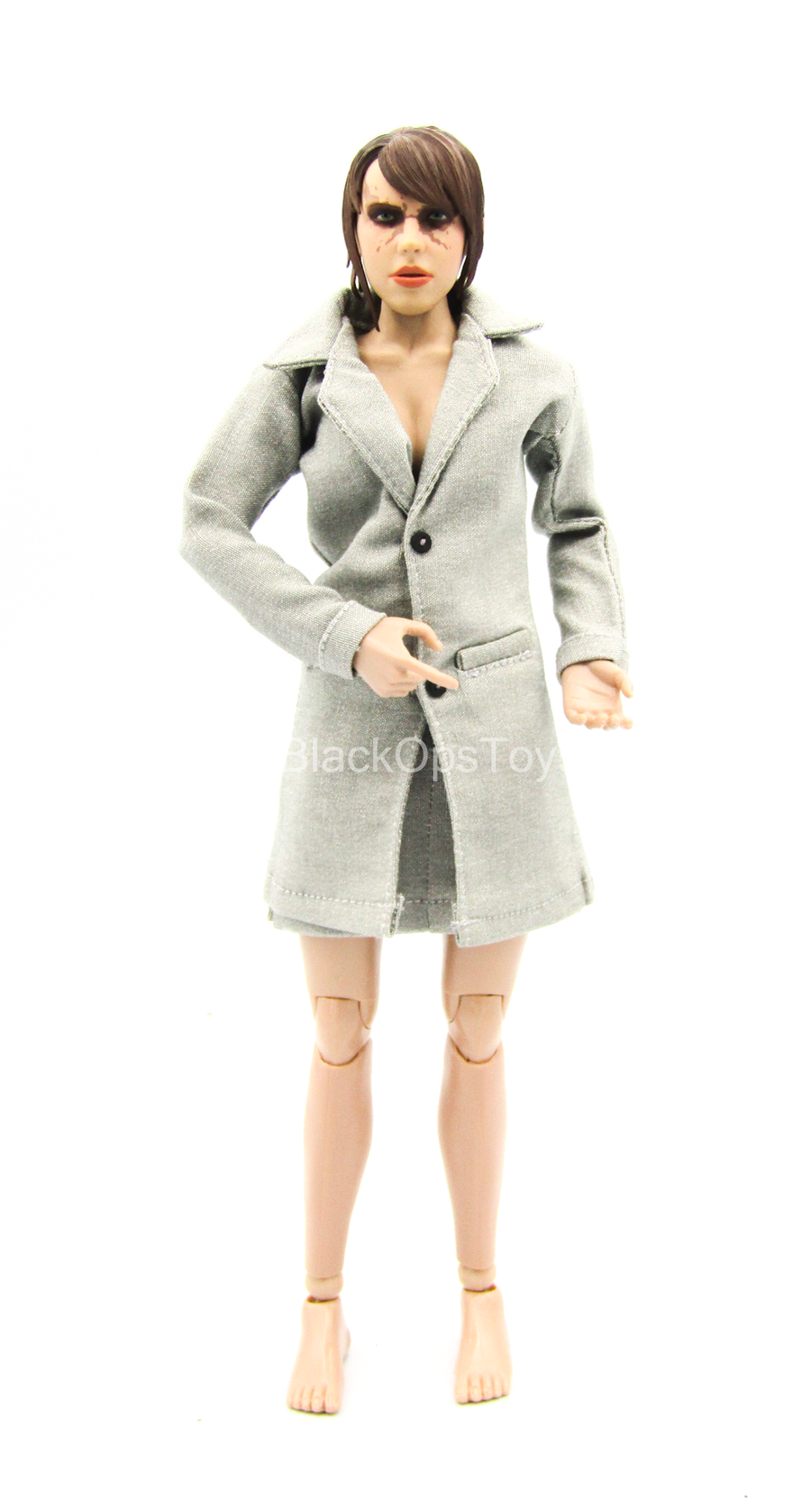 Light Grey Coat w/Light Grey Skirt & Black Undershirt