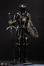 Dragon Knight - Black & Gold Colored Metal Female Greaves