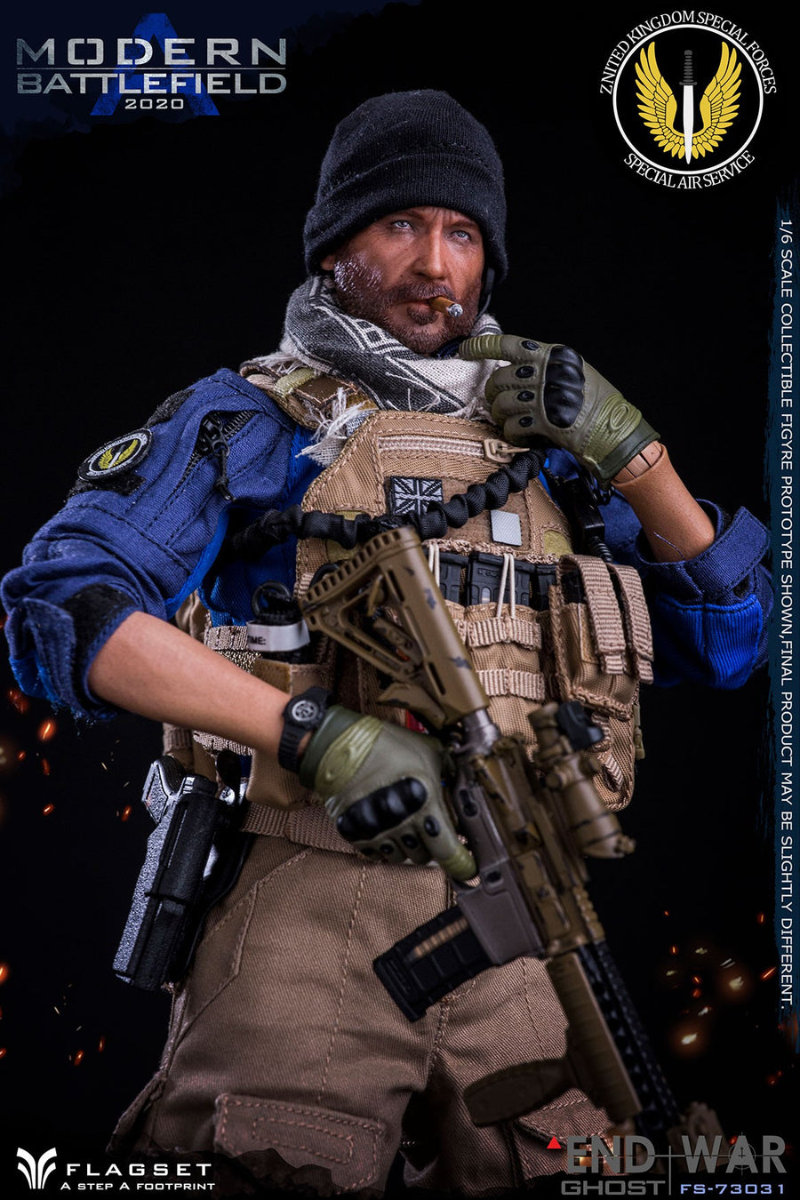Modern Battlefield - Male Head Sculpt w/Cigar