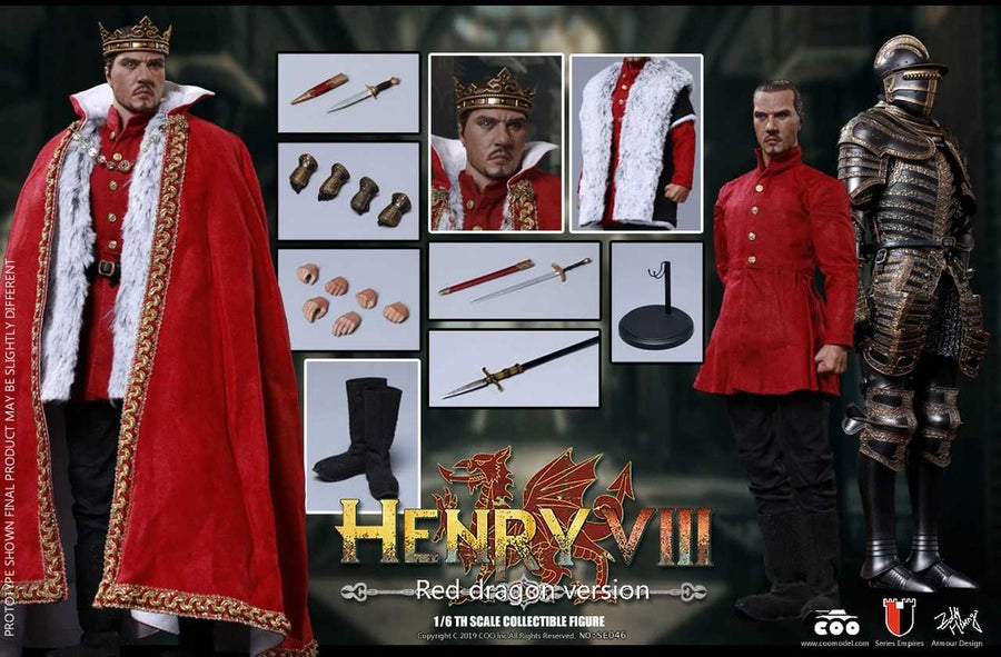 Henry VIII Red Dragon Ver. - Die Cast Metal Black & Gold Armor Set