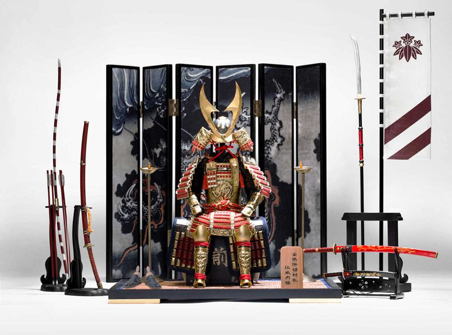 Samurai - Dual Metal Swords & Sheath w/Wood Stand