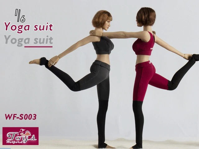 Deep Rose Red Female Contrast Yoga Suit - MINT IN BOX
