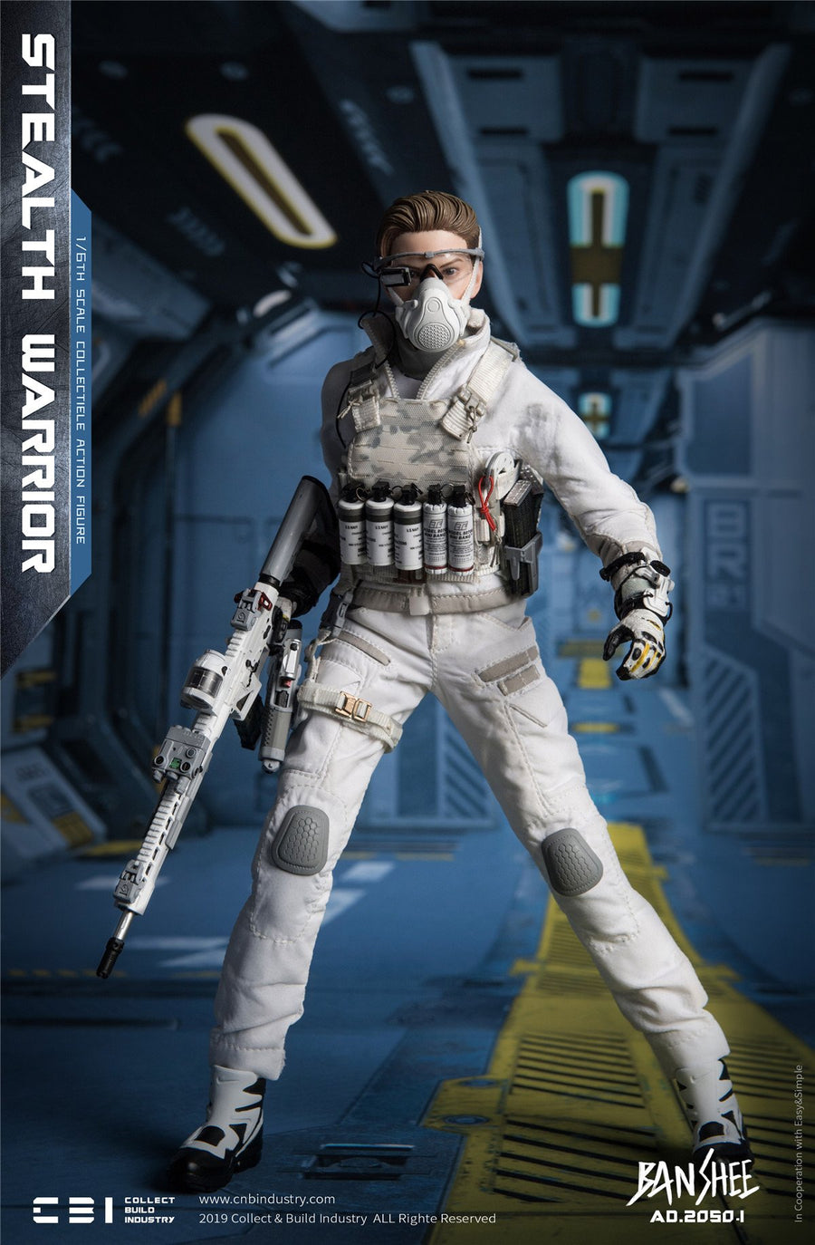 White Belt w//Mag Holsters 1//6 Scale Toy Banshee Stealth Warrior Light Version