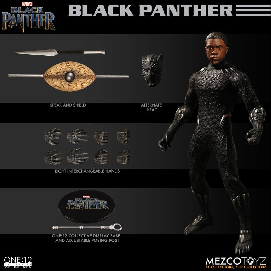 Mezco Toyz One:12 Collective Black Panther Action Figure AUTHENTIC PRIORITY SHIP