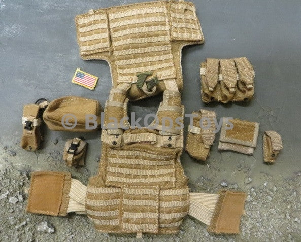 Toy Soldier PMC Desert Tan MOLLE Plate Carrier Vest Set W/ Pouches