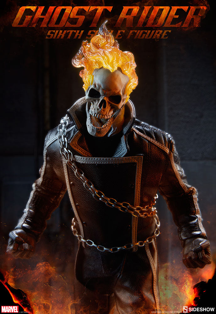 GHOST RIDER - Black Leather Like Jacket w/Magnetic Front