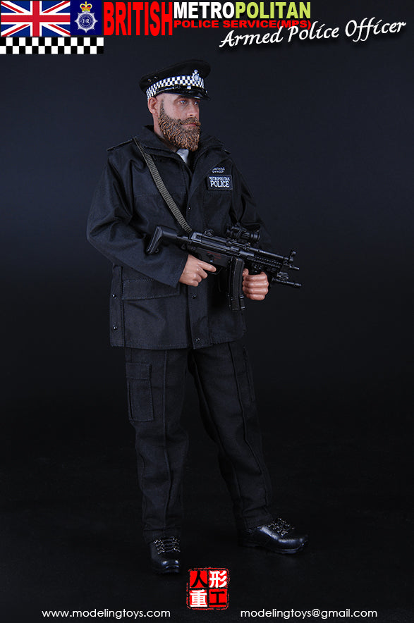 British - Armed MPS - Black Plate Carrier Vest w/Equipment Set