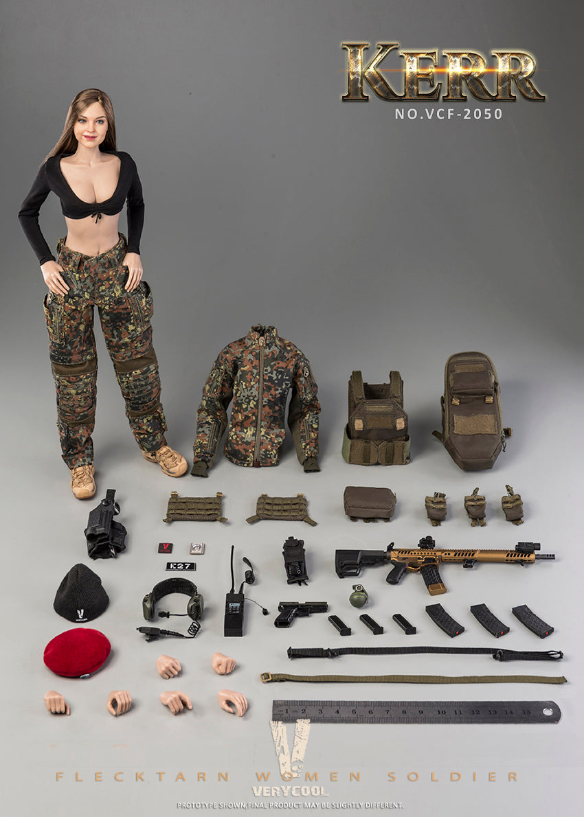 Flecktarn Soldier Kerr - Green Plate Carrier w/Mag Pouches