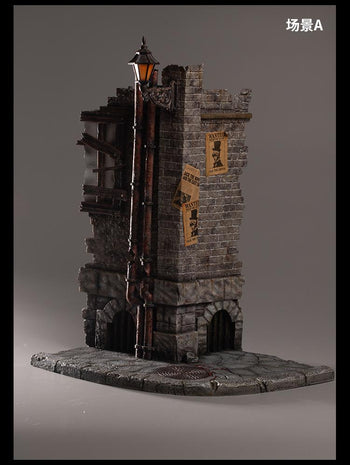 Misty Midnight - Jack the Ripper - Weathered Brick Wall Diorama