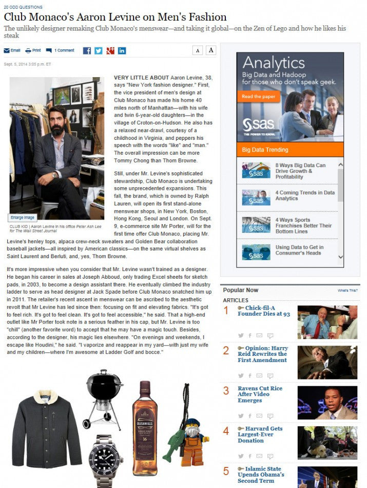 CLUB MONACO BY GOLDEN BEAR IN THE WALL STREET JOURNAL