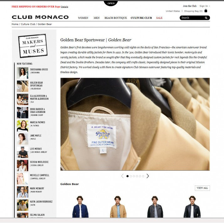 GOLDEN BEAR SPORTSWEAR FOR CLUB MONACO