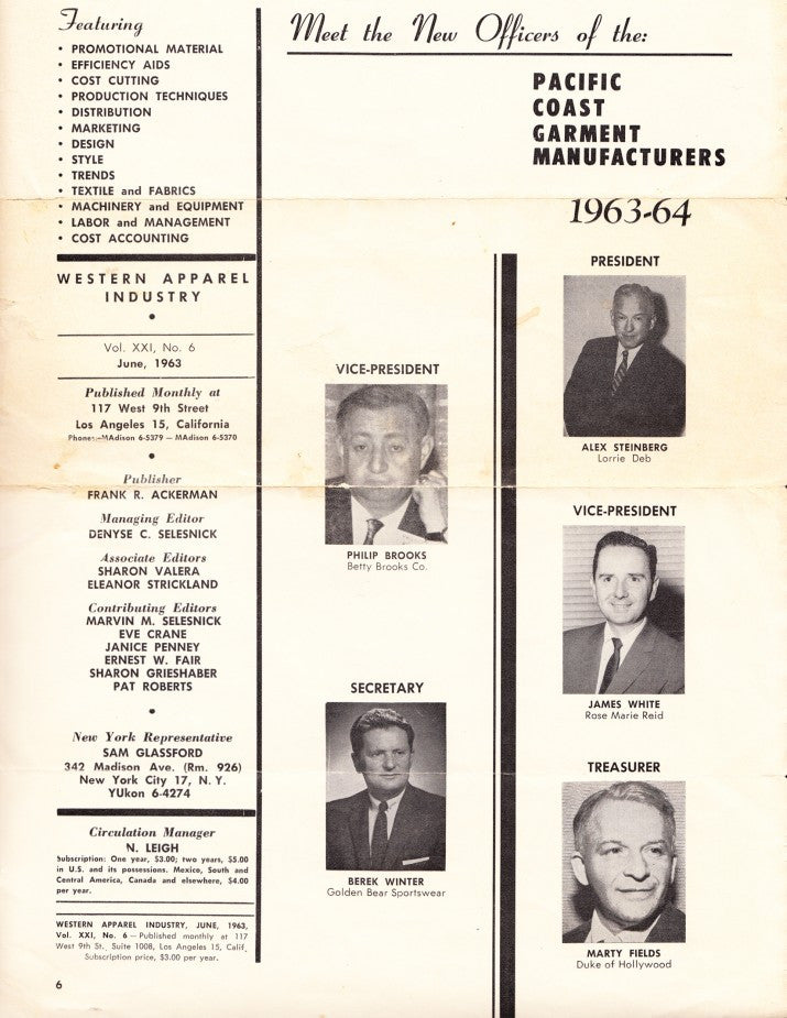 PACIFIC COAST GARMENT MANUFACTURERS 1963-64