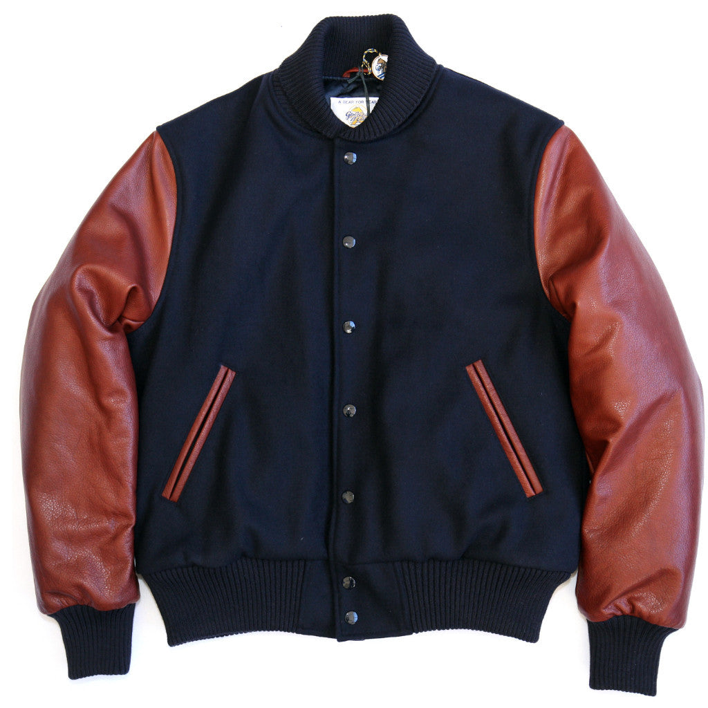 exclusive range available wide selection of designs Navy/British Tan Lux Italian Wool Naked Cowhide Snap Front Varsity Jacket