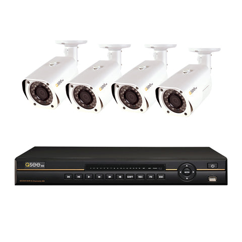 Refurbished 8-Channel IP HD NVR with 1TB HDD and (4) 3MP IP HD Bullet Cameras (QC838-4BD-1R)