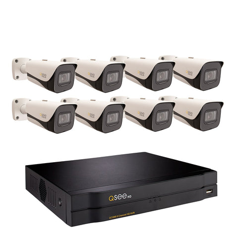 8-Channel 4K IP HD Network Video Recorder with 2TB Hard Drive and (8) 4K Ultra HD IP Bullet Cameras (QC888-8HF-2)