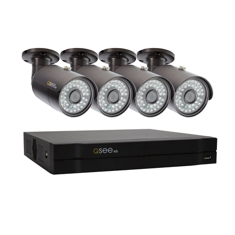 4 Channel Analog HD 4MP DVR with (4) 4MP PIR Bullet Cameras and 1TB HDD (QC974-4FL-1)