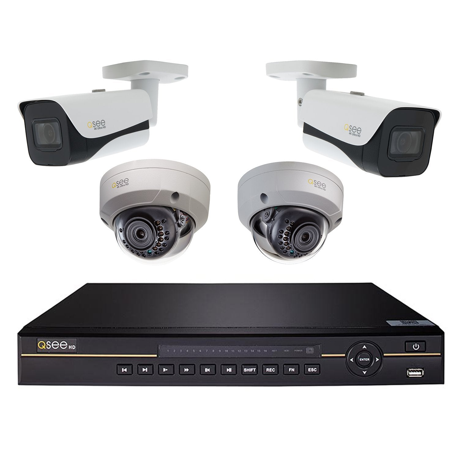 8 Channel 4K IP HD Network Video Recorder with 2TB Hard Drive, (2) 4K IP Bullet Cameras and (2) 4K IP Dome Cameras (QCK81-4HG-2) IP HD KIT  - Q-See