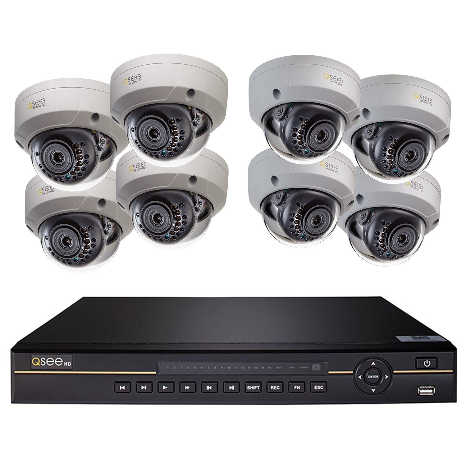 8 Channel 4K Ultra HD IP Security System with (8) 4K IP HD Dome Cameras and 2TB HDD (QCK81-8HM-2) IP HD KIT  - Q-See