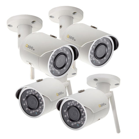 Four-Pack of Wi-Fi 3MP Bullet Indoor/Outdoor Security Camera with optional 16GB micro SD card (QCW3MP1B-4)
