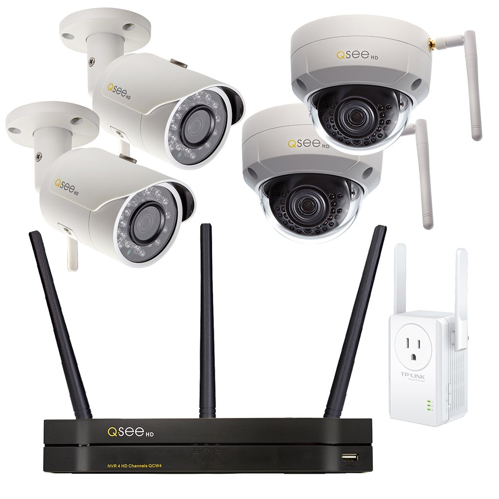 4-Channel Wi-Fi Security System with 1TB HDD, 2 Wi-Fi 3MP Bullet Security Cameras, 2 Wi-Fi 3MP Dome Security Cameras, and 1 Wi-Fi Range Extender (QCW4-4EN-1E) Wi-Fi  - Q-See